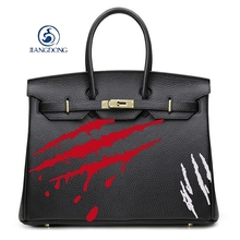 Famous Brand PU Leather Custom Graffiti Women's Platinum Gold Lock Handbags Hand Painted Scratch Marks Crossbody Bolsas Totes(China)