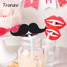 Tronzo 10pcs Funny Party Decoration Photo Booth Beard Lip Lollipop Straw Decor Birthday Party Kids Photo Props For Wedding
