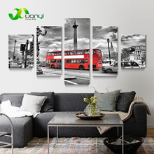 5 Panel Bus Street Scene Landscape Painting Canvas Wall Art Modular Picture For Bed Room Home Decor Modern Print Unframed PR1490