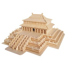 Wooden Stitching Chinese Castle Building Blocks Simulation Toy Model Compatible Big Villa Models DIY 3D Wooden Puzzle(China)