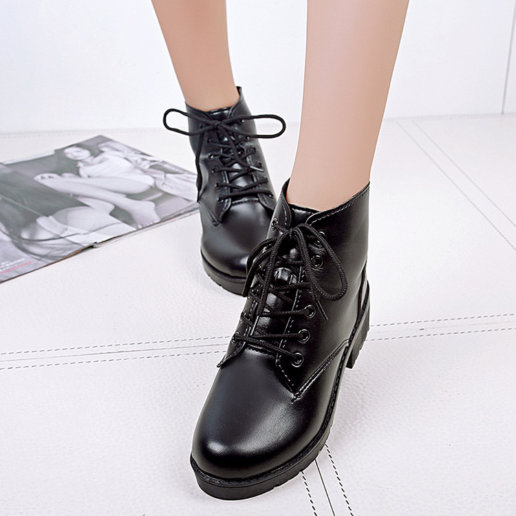 2017 PU leather Black Lacing Military Women Boots Spring Autumn Martin Thick Mid heel women shoes round Toe boots<br><br>Aliexpress
