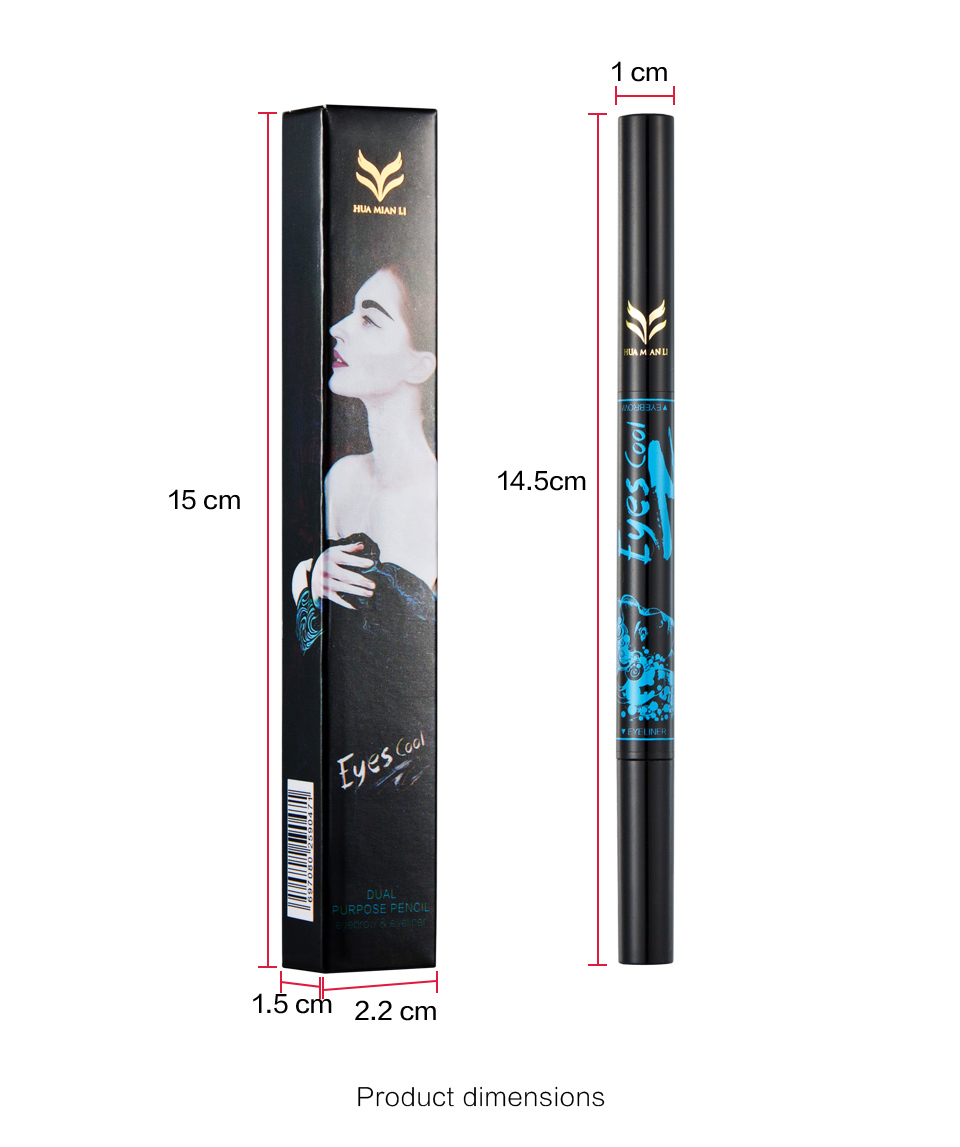 Huamianli 2in1 Waterproof 5 Nature Color Eye Brow Pen Pencil Long Lasting Nude Rotation Eyebrow Pencil Cosmetic Eye Makeup Tools 13