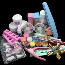 New 23pcs/set Acrylic Nail Art Set Acrylic Powder Liquid Nail Tools Makeup Set Excellent Manicure Makeup Tool kit