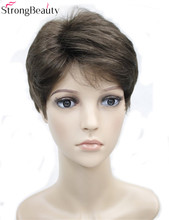 Strong Beauty Short Synthetic Body Wave Wigs Heat Resistant Full Men's Wig