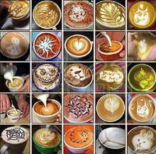 16pcs/set Coffee Latte Cappuccino Barista Art Stencils / Cake Duster Templates Coffee Tools filtro tea tea infusers filterB019-1
