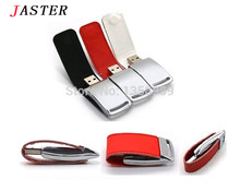 JASTER NEW metal USB flash drive,Leather & metal keyring Pendrive fashion creativo USB 2.0 16gb 8gb Memory stick U Disk(China)