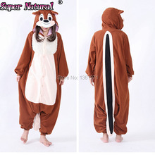HKSNG Women Adult Winter Animal Brown Orange Chipmunk Squirrel Pajamas Chippy Onesie Cosplay For Christmas Party