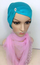 H831a new style cotton jersey muslim tube hat with rhinestones,free shipping