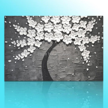 Hand-painted Big Size Wall Art Picture Wedding Home Decor Snow White Flower Tree Gray Thick Knife Oil Painting On Canvas(China)