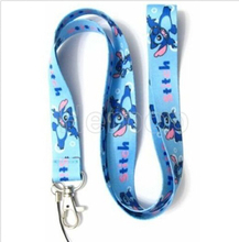 Free shipping Blue 1 Pcs  Lovely Stitch Strap Lanyard with Lobster Clasp Fit Key ID Mobile Cell Phone Keychain