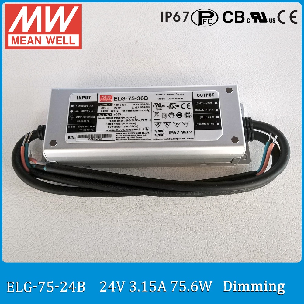 Original MEAN WELL dimming LED driver ELG-75-24B 75W 3.15A 24V mean well waterproof Power Supply ELG-75 B type IP67<br>