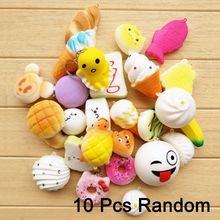 10Pcs/lot Squishy Slow Rising Squeeze Lovely Cute Soft Mini Bread Cake ice Cream Toy Phone Straps Kids Wholesale