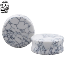 Ear Expander Body Piercing Jewelry White Howlite Organic Flesh Tunnels Stone Ear Plugs Ear Gauges Expander Stretcher(China)