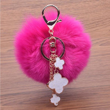 Rabbit Fur Ball Keychain Furball Clover Key Ring Key Chain Jewelry Fur Bag Charm Women Bag Accessories For Gift 450916