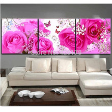 3pcs/set 50*150cm Pink Flowers Picture Painting By Numbers DIY Digital Oil Painting Canvas Home Decoration No Frame HD1088(China)