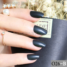 24pcs new product hot sales candy oval decorative fake nails short round section black comfortable false nails R26-B