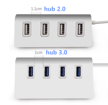 High Speed 4 Ports USB 2.0&3.0 Hub Portable Aluminum Hub USB Splitter New for Macbook Air PC Laptop (No External Power Supply)