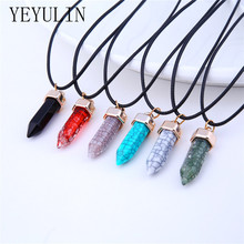 New Design Resin Bullet Shape Pendant Necklace PU Leather Chain Female Sweater Necklace Jewelry Gift Bijioux(China)