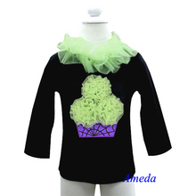 Halloween Purple Green Spider Web Cupcake Black Long Sleeves Top Pettitop 1-7Y