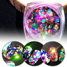1 Bottle Shiny Neon Color Nail Glitter Mixed Size Round Sequins Rainbow Laser Flakes Nail Art Decorations T35(China)