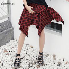 British Red Plaid Irregular Bandage Skirt 2017 preppy style Women All Match Pleated Skirt With Belt Women Clothing S20