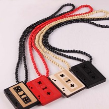 Free Shipping Cassette Tape Pendant NYC Good Wood Hip-Hop Wooden 4 colors Fashion Men NecklaceJasw115(China)