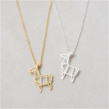 10pcs_Hot Sale Origami Deer Necklace in Gold/Silver Minimalist Deer Necklace For women wholesale