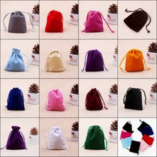 9x12cm Drawstring Velvet Bags Pouches Jewelry Bags Christmas Valentines Gifts Bags 100pcs/lot Free Shipping