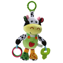 13'  Music Cow Plush Toy Infant Rattles Plush Animal Toy Baby Stroller Velvet Hanging Bell Toy Doll Soft