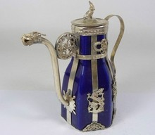 Tibetan Antique Tibet Silver Blue Porcelain Teapot Flagon Free Shipping(China)