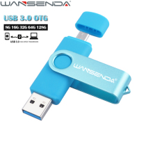 WANSENDA USB 3.0 OTG Pen Drive Rotatable USB Flash Drive 8gb 16gb 32gb 64gb Flash Drive for Android Mobile Pendrive 128GB(China)