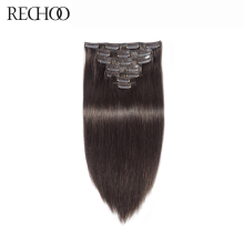 Rechoo #2 Dark Brown Non-remy Brazilian Straight Clips In Human Hair 7Pcs/Set 100 Gram Full Head Set Clip In Extensions(China)
