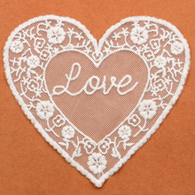 White Craft Lace Collar Venise Love Heart Mesh Embroidered Applique Trim Lace Wedding decor lace fabric for dress patchwork