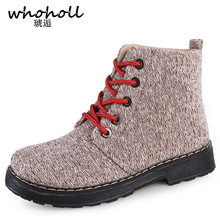 Whoholl Martin Boots Woman Flock Leather Ankle Black Bronw Winter Autumn Cowboy Women Boots Fashion Flock Casual Shoes Female