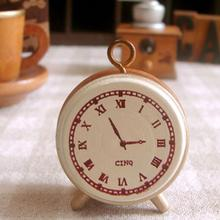 Best Price 1pc vintage retro style Wood Rubber  alarm clock small wooden stamp / DIY seal