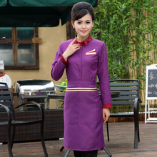 Chef Uniform Hotel Waiter Service Catering Staff Uniforms Long Sleeved Female Hotel Western-style Food Clothing with Apron(China)