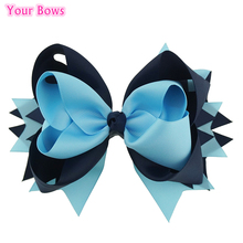 Your Bows 1PC 8 Inches Big Grosgrain Ribbon Hair Bows Blue Mist Navy Girls Bows Hairpins Children Hair Clip For Kids(China)