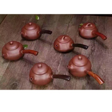Wang Chenlin's Works Traditional Red Stoneware Teapot 150ml-240ml Creative Solid Wood Mahogany Handle High Quality Hot Sale(China)