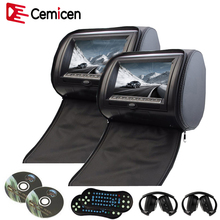 Cemicen 2PCS 9 Inch Car Headrest DVD Player Monitor Digital Screen with USB/SD/IR/FM Transmitter/Speaker/Game Remote Control(China)