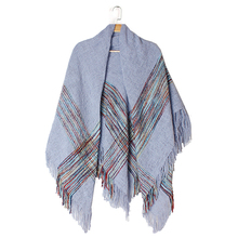 ZA 2017 New Arrival Winter Fashion Women Euro Brand Design Warm Acrylic Fibers Split Pashmina Long Tassels Striped Big Shawls