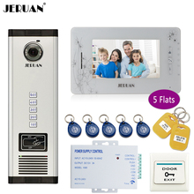 JERUAN 7 inch LCD Monitor 700TVL Camera Apartment video door phone 5 kit+Access Control Home Security Kit+8GB Card+free shipping