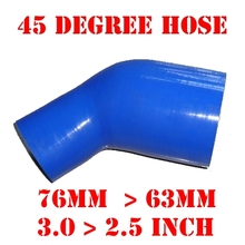 "76 mm > 63 mm, 3.0"" > 2.5"" Inch Silicone Reducer Hose Elbow 45 Degree Reinforced Silicone Intercooler Pipe #24493604502(China)"
