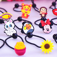 Fashionable Cute Korean Cartoon Silicone Q Pull Pull Rope Women and Girls Head Ornaments Children High Elastic Rubber Band(China)