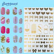 1pc Water Transfer 32 Patter Designs Nail Sticker Romantic Flash Gold Silver Flower Heart Design Nail Art Sticker Decor Decal(China)