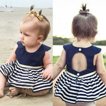 UK Striped Kids Baby Girls Princess Pageant Party Wedding Tutu Dress Clothes