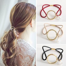 2017 New Round Rhinestone Pendant Elastic Rubber Band Gold Circle Headbands For Women Scrunchy Accessories Crystal Hair Jewelry(China)