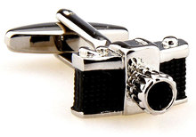 Camera Shaped Photographer Photo Man Men's Cufflinks Silver & Black Cufflinks Gift 162569(China)
