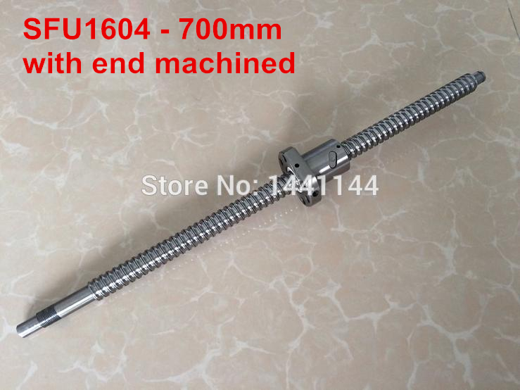 1pc Ball screw SFU1604 -  700mm + 1pc Ball nut for CNC with BK12/BF12 end machined<br>