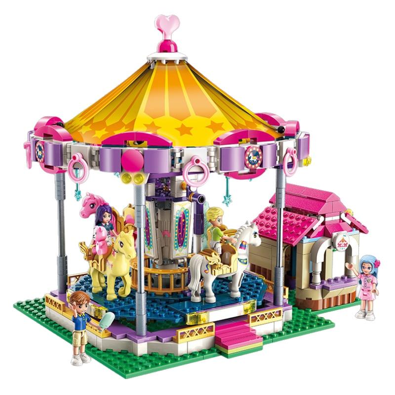 Legoing Friends Figures Building Blocks Fantasy Carousel Model Educational Toys Compatible Set Friends Heartlake City For Girls