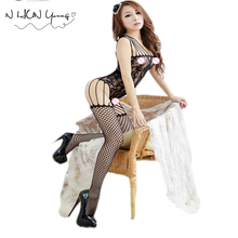 Buy Sexy Lingerie Hot Erotic Fishnet Bodystocking Bodysuits Costumes Women Open Crotch Catsuit Teddy Babydolls Underwear QQ056